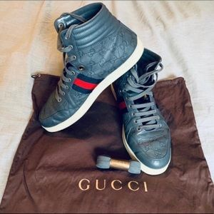 High Top Sneakers Gucci Grey Leather